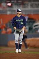 Vermont Lake Monsters pitcher Jack Cushing (32) during a NY-Penn League game against the Aberdeen IronBirds on August 19, 2019 at Leidos Field at Ripken Stadium in Aberdeen, Maryland.  Aberdeen defeated Vermont 6-2.  (Mike Janes/Four Seam Images)