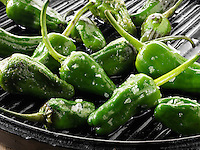 Griddled whole padron chillis