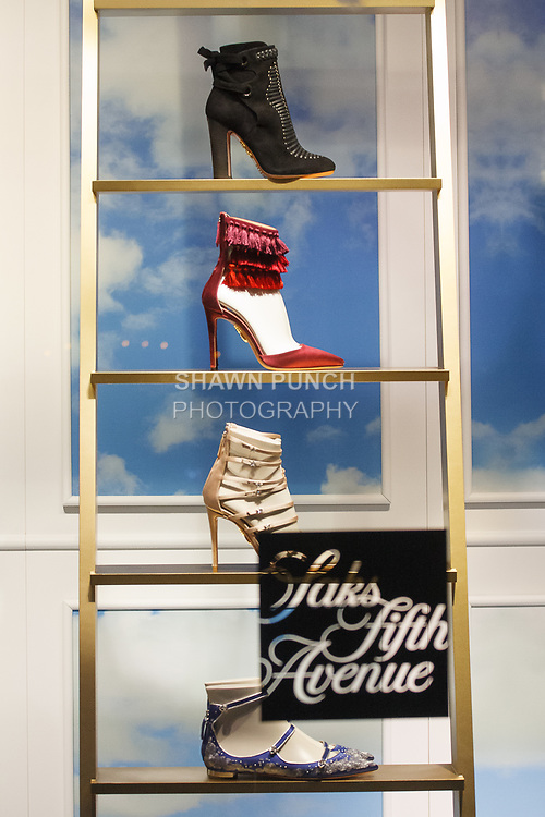 Window display of Claudia Schiffer for Aquazzura capsule collection at Saks Fifth Avenue on 611 Fifth Avenue, in New York City on October 17, 2017.