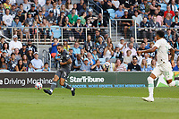 SAINT PAUL, MN - JUNE 23: Niko Hansen #11 of Minnesota United FC crosses the ball during a game between Austin FC and Minnesota United FC at Allianz Field on June 23, 2021 in Saint Paul, Minnesota.