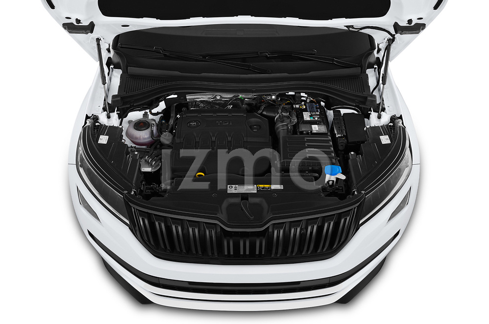 Car Stock 2019 Skoda Kodiaq Sportline 5 Door SUV Engine  high angle detail view