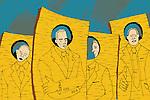 Four businessmen with similar identity