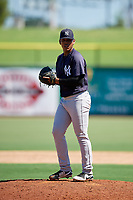 New York Yankees pitcher Pedro Barrios (27) gets ready to deliver a pitch during a Florida Instructional League game against the Philadelphia Phillies on October 12, 2018 at Spectrum Field in Clearwater, Florida.  (Mike Janes/Four Seam Images)