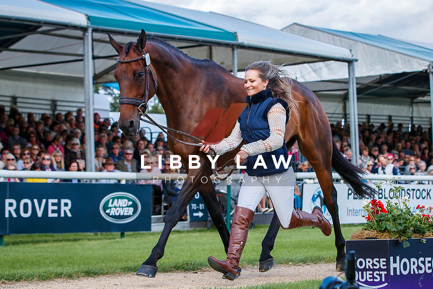 USA-Hannah-Sue Burnett presents Harbour Pilot during the First Horse Inspection. 2019 GBR-Land Rover Burghley Horse Trials. Wednesday 4 September. Copyright Photo: Libby Law Photography
