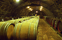 "The Kiralyudvar winery in Tarcal: in the underground cellar, rows of barrels with Tokaj wine aging. Traditional glass bung hole stoppers. Kiralyudvar (meaning ""King's Court"")is run by Istvan Szepsy, considered maybe the best winemaker in Tokaj. he also makes Tokaj under his own name.  Credit Per Karlsson BKWine.com"