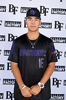 Kevin Ortiz (16) of William B. Travis High School  in Richmond, Texas during the Baseball Factory All-America Pre-Season Tournament, powered by Under Armour, on January 12, 2018 at Sloan Park Complex in Mesa, Arizona.  (Mike Janes/Four Seam Images)