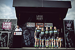 Team Tibco Silicon Valley Bank at sign on before the 2018 Liege-Bastogne-Liege Femmes running 136km from Bastogne to Ans, Belgium. 22nd April 2018.<br /> Picture: ASO/Thomas Maheux | Cyclefile<br /> All photos usage must carry mandatory copyright credit (© Cyclefile | ASO/Thomas Maheux)