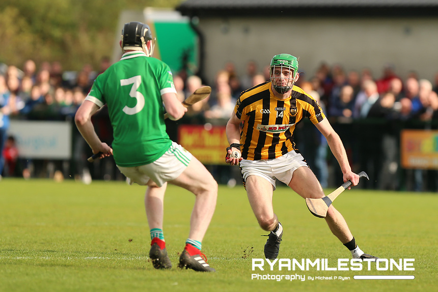 EVENT:<br /> Mid Tipperary Senior Hurling Final<br /> Upperchurch-Drombane vs Drom-Inch<br /> Sunday 29th September 2019,<br /> Littleton, Tipperary<br /> <br /> CAPTION:<br /> Paul Shanahan of Upperchurch-Drombane in action against Kevin Hassett of Drom-Inch<br /> <br /> Photo By: Michael P Ryan