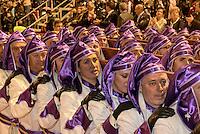 Thron Virgen de Amargura bei  der Karfreitagsprozession der Semana Santa (Karwoche) in Lorca,  Provinz Murcia, Spanien, Europa