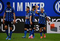 Inter Milan's Alexis Sanchez, right,celebrates with his teammates after scoring during the Italian Serie A football match between Inter Milan and Sampdoria at Milan's Giuseppe Meazza stadium, May 8, 2021.<br /> UPDATE IMAGES PRESS/Isabella Bonotto