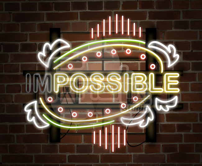 Illustration of neon light changing from impossible to possible