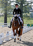 LEXINGTON, KY - APRIL 29: #54 RF Demeter and rider Marilyn Little in the warm up ring before their Dressage test in the Rolex Three Day Event, Dressage Day 1, at the Kentucky Horse Park in Lexington, KY, where they finished 3rd overall in Dressage.  April 29, 2016 in Lexington, Kentucky. (Photo by Candice Chavez/Eclipse Sportswire/Getty Images)
