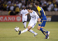 Angel Di Maria kicks the ball. Real Madrid defeated Club America 3-2 at Candlestick Park in San Francisco, California on August 4th, 2010.