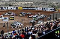Mar. 20, 2011; Chandler, AZ, USA;  LOORRS pro two driver Carl Renezeder (17) leads Rob MacCachren (1) during round two at Firebird International Raceway. Mandatory Credit: Mark J. Rebilas-