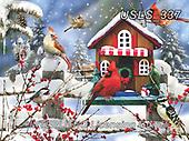 Lori, CHRISTMAS LANDSCAPES, WEIHNACHTEN WINTERLANDSCHAFTEN, NAVIDAD PAISAJES DE INVIERNO, paintings+++++Winter Cardinals_2_72_Ravensburger,USLS337,#xl#