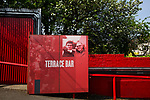 The Terrace Bar gate behind the Ealing Road terrace pictured before Brentford hosted Leeds United in an EFL Championship match at Griffin Park. Formed in 1889, Brentford have played their home games at Griffin Park since 1904, but are moving to a new purpose-built stadium nearby. The home team won this match by 2-0 watched by a crowd of 11,580.