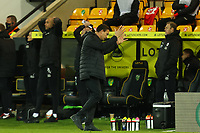 2nd January 2021; Carrow Road, Norwich, Norfolk, England, English Football League Championship Football, Norwich versus Barnsley; Barnsley Manager Valerien Ismael reacts as his side go close to equalising with the last kick of the game