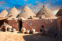"Pictures of the beehive adobe buildings of Harran, south west Anatolia, Turkey.  Harran was a major ancient city in Upper Mesopotamia whose site is near the modern village of Altınbaşak, Turkey, 24 miles (44 kilometers) southeast of Şanlıurfa. The location is in a district of Şanlıurfa Province that is also named ""Harran"". Harran is famous for its traditional 'beehive' adobe houses, constructed entirely without wood. The design of these makes them cool inside. 20"