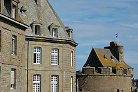 Stone walls of homes and dungeons in the old city of Saint Malo, Brittany, France.