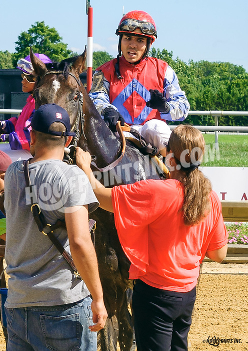 Brian Pedroza aboard Wild Impulse wondering what in the world Althea just told him at Delaware Park on 8/15/16