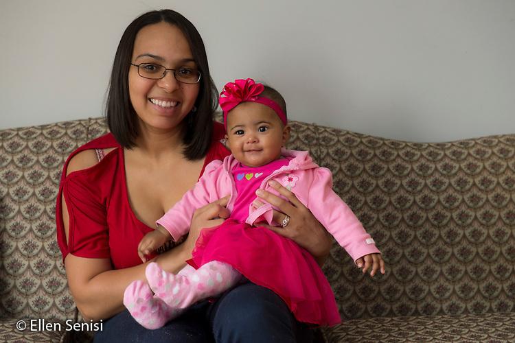 MR / Schenectady, New York. Portrait of mother (26, Puerto Rican American) and her infant (5 months). ID: Gar11, Mel14. ©Ellen B. Senisi