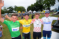Stefan Bissenger (sprint), Aaron Gate (champion), Cyrille Thiery (KOM) and Theo Gilbertson (U23). Circuit of Champions, stage five of the 2019 Grassroots Trust NZ Cycle Classic UCI 2.2 Tour from Cambridge, New Zealand on Sunday, 27 January 2019. Photo: Dave Lintott / lintottphoto.co.nz