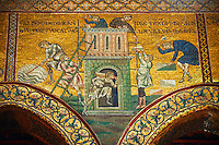 Byzantine mosaics in the Cathedral of Monreale- Building the Tower of Babel  - Palermo - Sicily Pictures, photos, images & fotos photography