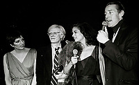 Minelli Warhol Jagger Halston6858.JPG<br /> New York, NY 1978 FILE PHOTO<br /> Liza Minelli, Andy Warhol, Bianca Jagger, Halston<br /> Studio 54<br /> Digital photo by Adam Scull-PHOTOlink.net<br /> ONE TIME REPRODUCTION RIGHTS ONLY<br /> NO WEBSITE USE WITHOUT AGREEMENT<br /> 718-487-4334-OFFICE  718-374-3733-FAX