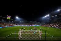 9th January 2021; Brentford Community Stadium, London, England; English FA Cup Football, Brentford FC versus Middlesbrough; General wide view of Brentford Community Stadium during the 1st half as Goalkeeper Luke Daniels of Brentford makes a save from a Middlesbrough free kick