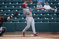 Matt Kroon (1) of the Jersey Shore BlueClaws at bat against the Winston-Salem Warthogs at Truist Stadium on July 21, 2021 in Winston-Salem, North Carolina. (Brian Westerholt/Four Seam Images)