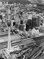 Aerial view of Toronto's Downtown with C.N. Tower<br /> <br /> Photo : Boris Spremo - Toronto Star archives - AQP