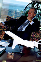 1996, Montreal, Quebec, Canada; <br /> <br /> File Photo of Bombardier CEO & President Laurent Beaudoin during an interview in Montreal.<br /> The WTO ruled Monday , January 28th, 2002, that Canada broke global trading rules by providing cut-rate loans to finance regional jet sales by Montreal-based Bombardier. <br /> Ottawa has 30 days to decide whether to appeal the ruling in what has become a five-year-long trade war between Canada and Brazil over jet sales. <br /> The WTO condemned several deals, the largest involving $1.7 billion in financing by Ottawa to support a Bombardier sale of 75 jets to Air Wisconsin. <br /> <br /> <br /> <br /> NOTE : slide scan made with Kodak RFS 3600, saved as Adobe 1998 RGB