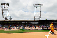 20th Annual Rickwood Classic Game between the Birmingham Barons and Jacksonville Suns on May 27, 2015 at Rickwood Field in Birmingham, Alabama.  Jacksonville defeated Birmingham by the score of 8-2 at the countries oldest ballpark, Rickwood opened in 1910 and has been most notably the home of the Birmingham Barons of the Southern League and Birmingham Black Barons of the Negro League. Pitching coach Derek Botelho is at far right.  (Mike Janes/Four Seam Images)