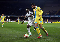 Thursday 27 February 2014<br /> Pictured L-R: Wilfried Bony of Swansea against Raul Albiol o Napoli<br /> Re: UEFA Europa League, SSC Napoli v Swansea City FC at Stadio San Paolo, Naples, Italy.