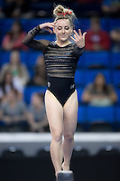 LOS ANGELES, CA - April 19, 2013:  Stanford's Taylor Rice competes on beam during the NCAA Championships at UCLA.