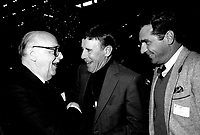 Montreal Mayor Jean Drapeau (L), Doris Lussier (M) and Michel jasmin (R) attend the Rene Levesque tribute at Montreal's convention centre, October 2nd,1985.<br /> File Photo : Agence Quebec Presse - Pierre Roussel