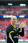 Norwich City 2 Middlesbrough 0, 25/05/2015. Wembley Stadium, Championship Play Off Final. Alex Neil celebrates in front of the Norwich supporters. A match worth £120m to the victors. On the day Norwich City secured an instant return to the Premier League with victory over Middlesbrough in front of 85,656. Photo by Simon Gill.