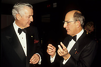 Montreal (Qc) CANADA - File Photo (between 1991 and 1995)- Paul Desmarais (Senior), CEO Power Corporation (L), talk with Charles Bronfman, Seagram's co-Chairman. (R)<br /> <br /> Charles Rosner Bronfman, PC, CC (born June 27, 1931 in Montreal) is a Canadian businessman and philanthropist.<br /> <br /> He is the son of Samuel and Saidye Bronfman; his siblings are Minda, architecture expert Phyllis, and Edgar. He is the uncle of Edgar Bronfman, Jr.. Charles Bronfman is the widower of his second wife, Andrea Bronfman.<br /> <br /> PHOTO :  Agence Quebec Presse