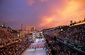 Rio de Janeiro, Brazil. Carnival; Dawn over the Sapucai sambodromo; the crowds waiting for the last samba school to parade.