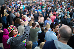 © Joel Goodman - 07973 332324 . 01/07/2017 . Manchester , UK . Crowds enjoying the DJ sets ahead of the main act . Hacienda Classical play at the Castlefield Bowl as part of Sounds of the City , during the Manchester International Festival . A collaboration between DJs Mike Pickering and Graeme Park and the Manchester Camerata orchestra , Hacienda Classical reworks music by bands including the Happy Mondays and New Order and features Manchester musicians including Rowetta and Peter Hook . Photo credit : Joel Goodman