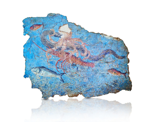 Roman Fresco with a fight scene between octopus, lobster and eel, 125-150 AD. (mosaico fauna marina da porto fluviale di san paolo), museo nazionale romano ( National Roman Museum), Rome, Italy. inv. 463Z4.  Against a white background.<br /> <br /> Excavated from the Porto di San Paolo near the Via Portuense, these frescoes decorated the thermal area of a suburban Roman Villa. The reconstructed fresco fragments, depict a group of three fighting animals: an octopus (octopus vulgaris) clutches a moray eel (muraena helena) and a lobster (palinurus vulgaris) in its tentacles; around them mud mullets (mullus barbatus) and rock mullets (mullus surmuletus) try to escape. Incriptions on the frescoes suggesy that the villa owner was from Alexandria where this style of nautical mosaic and fresco  decorations is found.