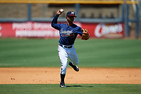 Mississippi Braves shortstop Ray-Patrick Didder (13) throws to first base during a Southern League game against the Jacksonville Jumbo Shrimp on May 5, 2019 at Trustmark Park in Pearl, Mississippi.  Mississippi defeated Jacksonville 1-0 in ten innings.  (Mike Janes/Four Seam Images)