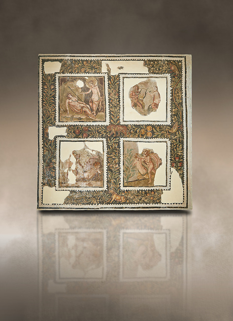 Picture of a Roman mosaics design depicting scenes from mythology, from the ancient Roman city of Thysdrus House in Jilani Guirat area. End of 2nd century AD. El Djem Archaeological Museum, El Djem, Tunisia. Against an art background<br /> <br /> Detail from a mosaic which depicts Polyphene playing a lyre to charm Galate ; Dionysus drunk ; Alpheus attacking the nymph Arethusa