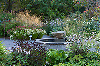 Fountain in Soest Herbaceous Display Garden, University of Washington Botanic Garden, Center for Urban Horticulture, Seattle - summer-dry climate