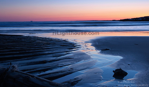 Sunset Reflections at Bailey's Beach in Newport.