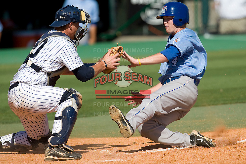 Memphis Tigers outfielder Ford Wilson #4 slides home against the Rice Owls in NCAA Conference USA baseball on May 14, 2011 at Reckling Park in Houston, Texas. (Photo by Andrew Woolley / Four Seam Images)