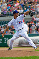Iowa Cubs pitcher Drew Rucinski (17) delivers a pitch during a game against the Colorado Springs Sky Sox on September 4, 2016 at Principal Park in Des Moines, Iowa. Iowa defeated Colorado Springs 5-1. (Brad Krause/Four Seam Images)