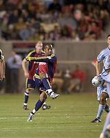 Real Salt Lake midfielder Andy Williams (77) hard shot is blocked. Real Salt Lake tied the Colorado Rockies, 1-1, at Rio Tinto Stadium on June 6, 2009.