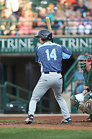 Andre Lipcius (14) of the West Michigan Whitecaps at bat against the Fort Wayne TinCaps at Parkview Field on August 5, 2019 in Fort Wayne, Indiana. The TinCaps defeated the Whitecaps 9-3. (Brian Westerholt/Four Seam Images)