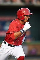 Harrisburg Senators designated hitter Christopher Bostick (1) runs to first during a game against the New Hampshire Fisher Cats on July 21, 2015 at Metro Bank Park in Harrisburg, Pennsylvania.  New Hampshire defeated Harrisburg 7-1.  (Mike Janes/Four Seam Images)